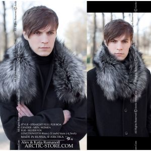 Men's full fur collar 80cm - russian silver fox / arctic-store