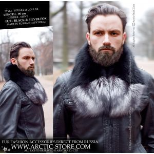 Men's detachable fur collar - black silver fox - arctic-store