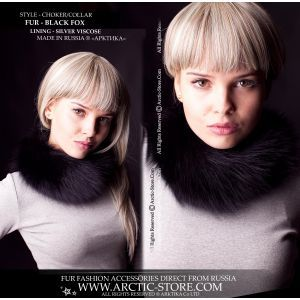 Fur choker - black fox neck collar - arctic-store