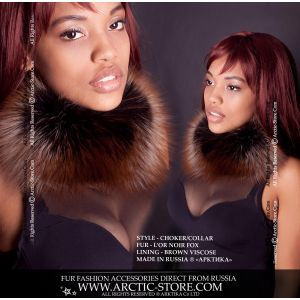 Oil color fur choker - silver brown fox neck collar