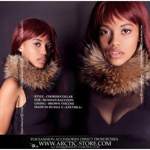 Fur choker - russian raccoon neck collar - arctic-store