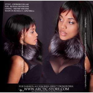 Fur choker - silver fox neck collar - arctic-store