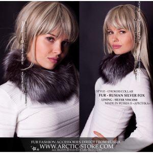 Silver fox choker - fur neck collar - arctic-store
