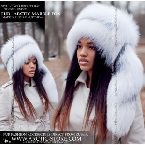 arctic marble fox hat with tail - davy crockett white black fur hat