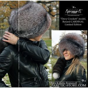 cardinal fox hat with tail - davy crockett fur hat - arctic-store