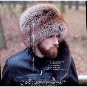 men's fur hat with tail - davy crockett l'or noir fox hat