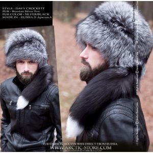 Davy Crockett hat - men's silver fox fur hat