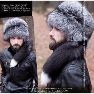 Davy Crockett hat - men's silver fox fur hat