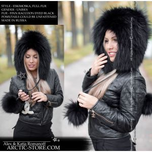 Eskimoska full fur hood hat triangle with poms, black raccoon