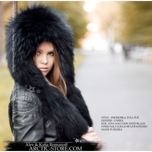 Black hat with tails - fur raccoon hood / arctic-store