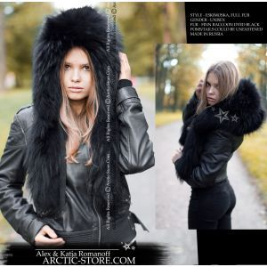 Fur hood - Black raccoon / arctic-store