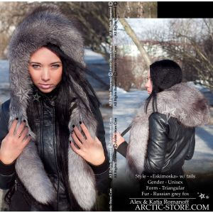 Eskimo fur hat - silver grey fox / arctic-store