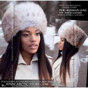 Women's fur shapka - Russian lynx hat