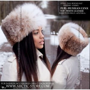Women's fur shapka - Russian lynx hat