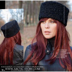 black astrakhan fur hat suede top unisex