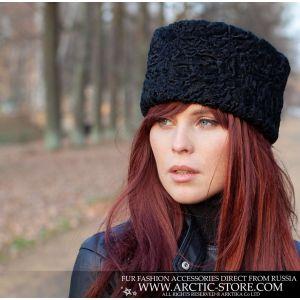 black karakul fur hat leather top women