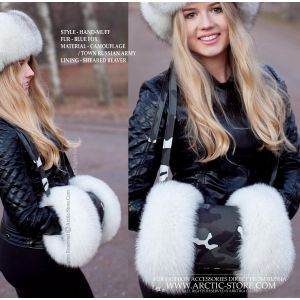camouflage fur muff - blue fox hand-muff lined with sheared beaver