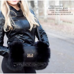 black fur muff romanov - fox hand-muff lined with sheared beaver