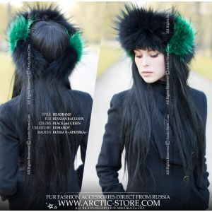 women headband - black red fur head band