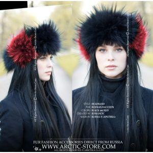 women headband - black red fur head band