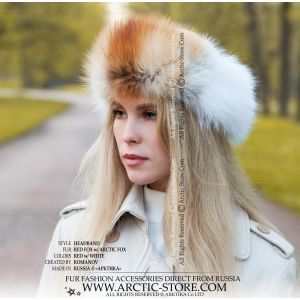 fashion fur headband in red and white fox