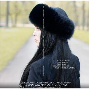 Black fox headband - winter women's band