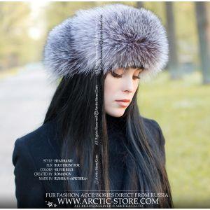 silver fur headwrap - fox headband