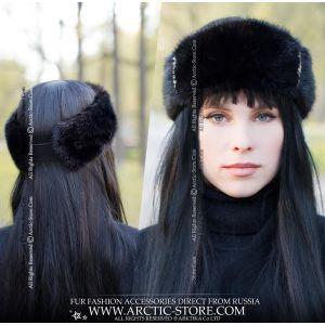 black mink headwrap - fashion fur headband