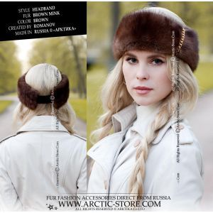 mink fur headband decorated with golden chains