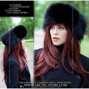 black headband silver fox fur insertions