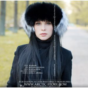 black headband silver fox fur insertions