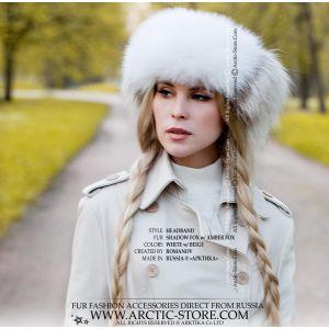 headband white beige fur - amber fox headwrap