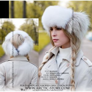 headband white beige fur - amber fox headwrap