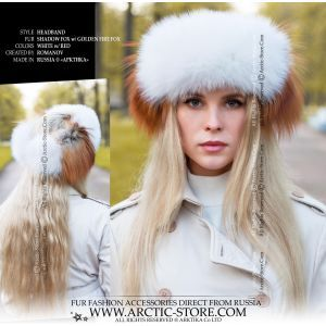 fashion fur headband - white gold fox headwrap