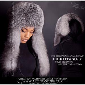 fur headwrap scarf - blue frost fox headband