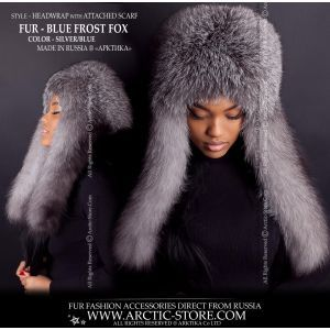 fur headwrap scarf - blue frost fox headband