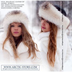 Roller fur hat - white raccoon / arctic-store