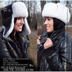 Naval officer fur hat - white sheared beaver / arctic-store