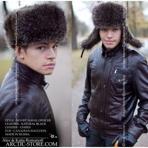 Naval officer fur hat - coonskin ushanka / arctic-store