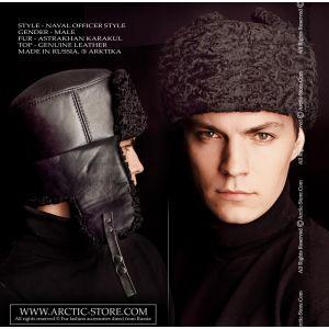 Naval officer fur hat - black karakul astrakhan - arctic-store