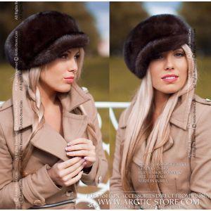 newsboy brown cap - mahogany fur hat