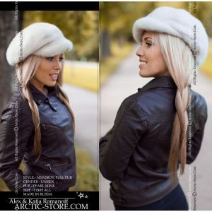 Mink fur cap - pearl mink hat / arctic-store