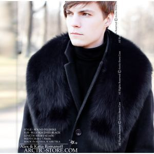 collar pelerine black fox russian cape for men