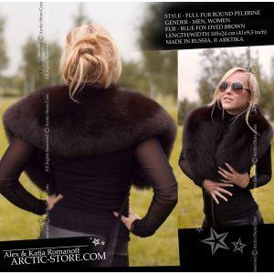 Fox pelerine for women - Ladie's brown fur collar - arctic store