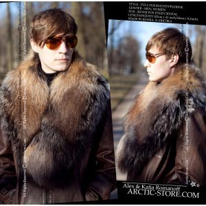Men's full fur pelerine, russian silver fox dyed crystal / arctic-store