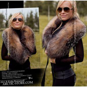 Women fur pelerine, crystal fox cape / arctic-store