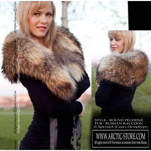 Women's fur pelerine - russian raccoon / arctic-store