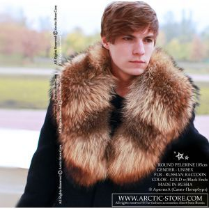 Men's fur pelerine - raccoon collar / arctic-store