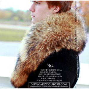 Men's fur pelerine - raccoon collar / arctic-store