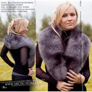 Women's fur pelerine - silver grey fox cape - arctic-store